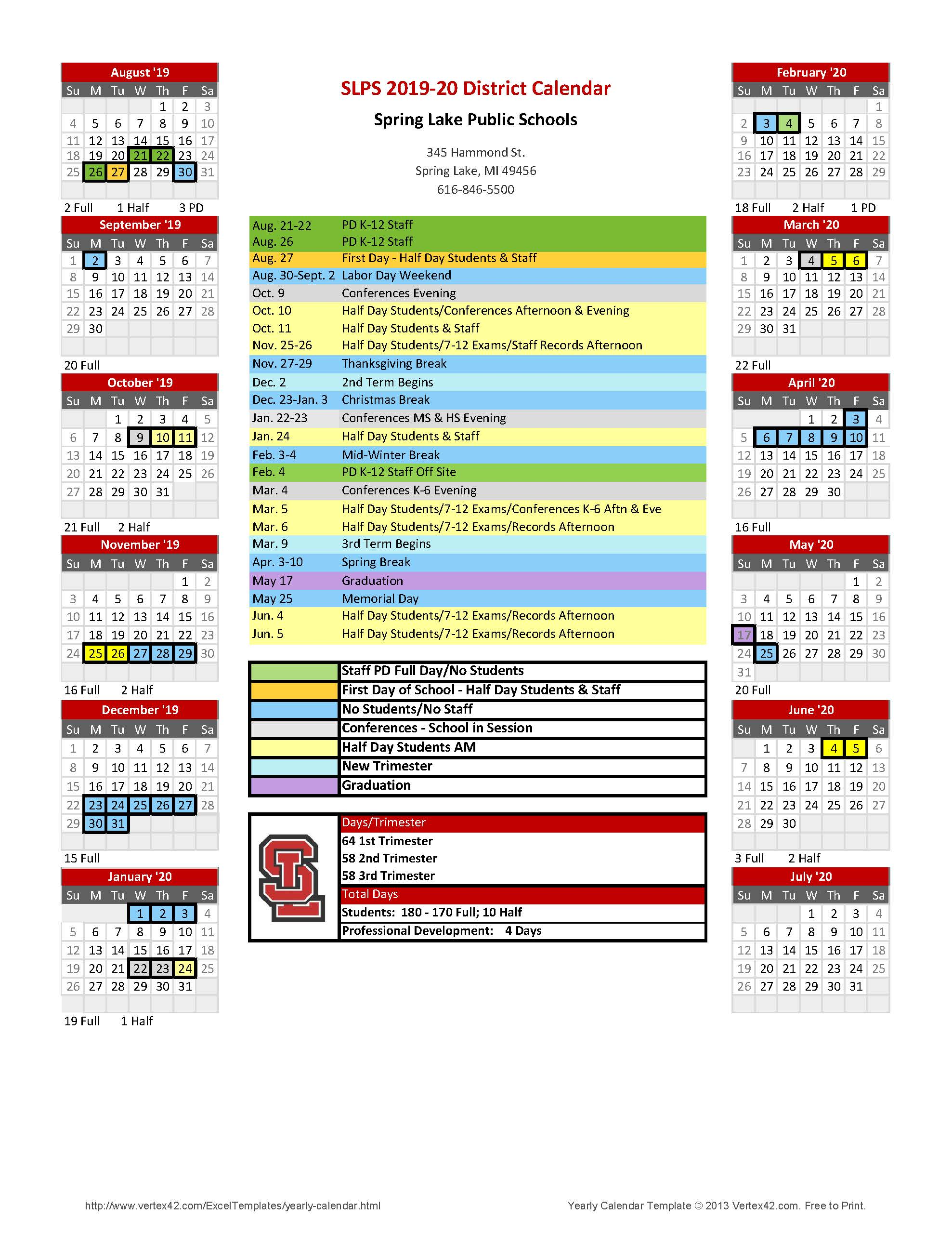 Florida Schools Spring Break 2020.2019 2020 District Calendar Spring Lake Public Schools